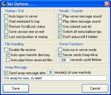 2A-ChitChat Options Dialog
